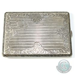 "Circa. 1900 Austro Hungarian 800 Silver Cigarette Case. This ornately etched case measures 4 1/2"" in"