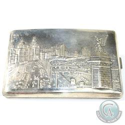 """Antique Shanghai 900 Sliver Cigarette Case - Shore/City Landscape. This ornate piece measures 4 3/4"""""""