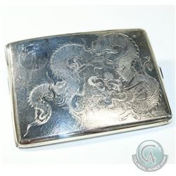 Antique Chinese Export Tackhing of Hong Kong Silver Cigarette Case with Etched Dragon. Measures 4 1/