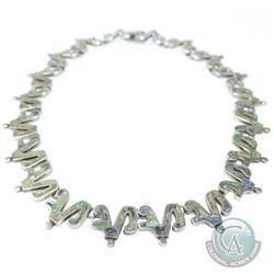 Vintage LOS CASTILLO Mexico Mosaic Stone Inlay Sterling Silver Necklace. Vintage Estate Piece Marked