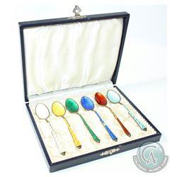 Vintage ELA Denmark Sterling Enamel Demitasse Spoon set with Original Case. Each spoon measures 3 3/