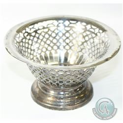 1899 Birmingham; Matthew John Jessop Sterling Silver Pierced Bon Bon Bowl. This footed Bowl Stands 3
