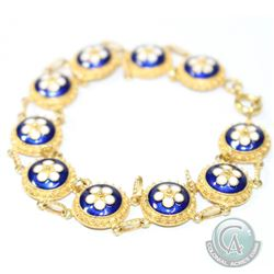 "Vintage Portuguese 800 (19K) Gold Blue & White Enamel Bracelet. Measures 7 1/2"" in length. 13.61gram"