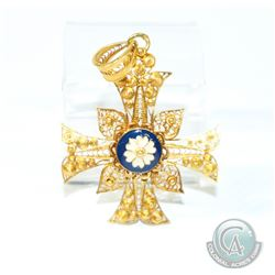 Vintage Portuguese 800 (19K) Gold Blue & White Enamel Filigree Cross Pendant.  Measures 4cm x 3cm.