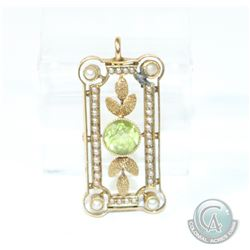 Edwardian Peridot & Seed Pearl 15K Gold Pendant. This finely crafted piece has a small repair to one