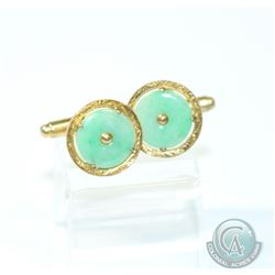 Pair of Antique 14K yellow Gold Jade Cufflinks. Total 5.65grams.