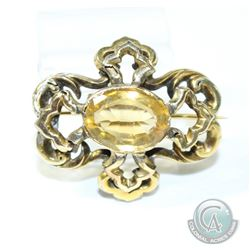 Circa 1860's-1880's Rococo Style 9K Citrine Brooch.  This Delicate piece has been repaired and conta