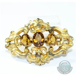 Circa 1860's-1880's Rococo Style 9K Citrine Brooch.  This Delicate piece has been extensively repair