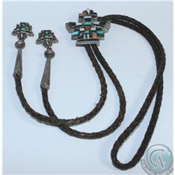 Vintage Zuni Knifewing Design Multi-Stone Inlayed Silver Bolo with leather tie and Tips. Inlayed wit