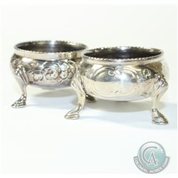 1865 'London' Henry Holland Sterling Silver Salt Cellars. This pair of Salt Cellars contain a decora