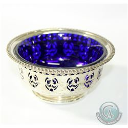 Birks 'Canada' Sterling Silver Pierced Bowl with Original Cobalt Blue Glass Liner. This beautiful ha