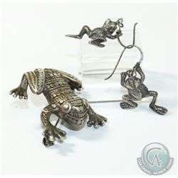 Vintage Sterling Silver Frog Jewellery Lot. You will receive a Pair of Sheppard Hook Earrings and a