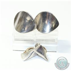 Pair of Vintage Georg Jensen Sterling Silver Modernist Clip on Earrings.  One Pair is designed by Na