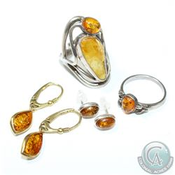 Vintage Sterling Silver Amber Inlayed Jewellery Collection. You will receive a Large Double Stone ri