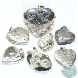 Lot if Vintage Sterling Silver Locket Pendants. You will receive 7 Unique Lockets in this collection