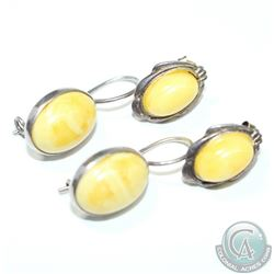 Vintage Sterling Silver Egg Yolk/Butterscotch Amber Earrings. Both sets of earrings boast the rare a