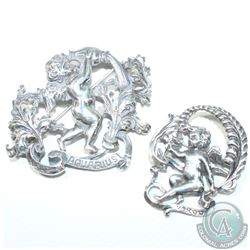 Vintage CINI Signed Sterling Silver Zodiac Brooches- Virgo & Aquarius.  2pcs.