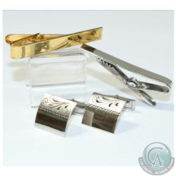 Men's Sterling Silver Tie Clip and Cuff Link Collection. 4pcs.
