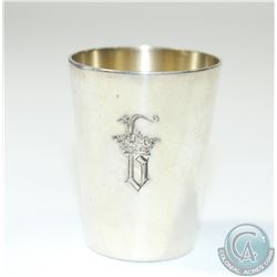 "Vintage Belgium 800 Silver Tot Cup/Shot glass. Stands 1 3/4"" in height with a monogram 'b'.  22.22gr"