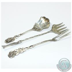 Antique 800 German Silver Flatware Set. You will receive an Olive Fork with Decorative Rose Handle,
