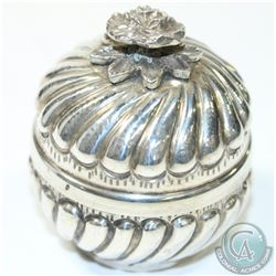 Vintage 900 Silver Spice/Snuff Box with Floral Finial.  This beautiful box contains a gilt interior