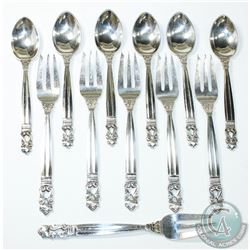 1915 'Denmark' Georg Jensen Acorn Pattern Teaspoon & Pastry Fork Set. You will receive a setting of