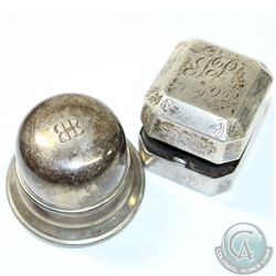 Pair of Birks Sterling Silver Ring Boxes. You will receive a Bell Shaped 'BB' Ring box with Black Ve