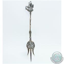 "Vintage Hooijkaas Zilverfabriek Silver Mango Fork with Elaborate Ship Design.  Measures 7 3/4"" in le"