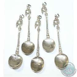 1891 B H Joseph & Co (Barnet Henry Joseph) 930 Silver Ladies Dancing Figural Spoon Set. 5pcs.