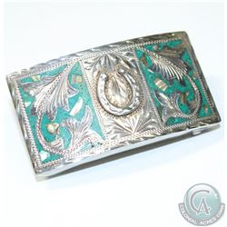 Vintage Mexico Sterling Silver Green Turquoise Inlayed Belt Buckle Signed EGO.  Measures 3   x 1 1/2