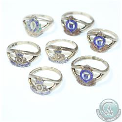 Estate Vintage Canadian Navy Enamel Sterling Silver Ring Collection. You will receive 7 Rings in the