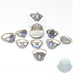 Estate Vintage Canadian Navy Enamel Sterling Silver Ring Collection. You will receive 10 Rings in th
