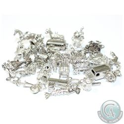 Estate Lot of Vintage Sterling Silver Charms. You will receive 33 Charms in this collection.  33pcs.