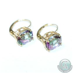 Lady's 14K Yellow Gold Mystic Topaz Lever Back Earrings.