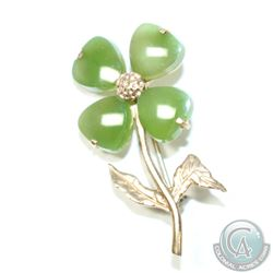 10K Yellow Gold Jade Four Leaf Clover - Good Luck Brooch.