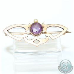 Antique 9K Yellow Gold Amethyst & Pearl Brooch.  2.8 grams.