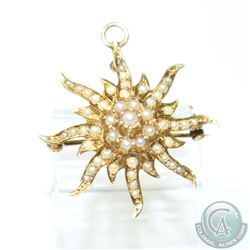 Antique 14K Yellow Gold Seed Pearl Sunburst Brooch/Pendant. 4.99 grams.