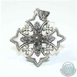 """Vintage 900 Silver Jerusalem Religious Pendant. Measures 2 1/4"""" x 1 3/4""""."""