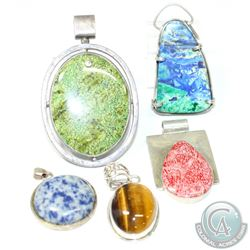 Vintage Sterling Silver Pendant Collection with Stone Inlays.  You will receive 5 Bold Pendants in t