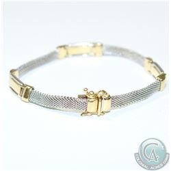 Lady's Italy 14K White/Yellow Gold Bracelet with Double Safety Clasp. 14.32 grams.