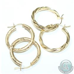 Two Pairs of Lady's 10K Yellow Gold Hoop Style Earrings with Lever Clasps. 3.29 grams total. 2pcs.