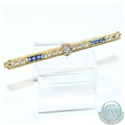 Antique Lady's 10K Yellow Gold Sapphire & Diamond Bar Pin.  This Filigree Style Pin Contains Eight S