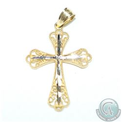 Lady's 10K Yellow/White Gold Filigree Cross Pendant. .69 grams.
