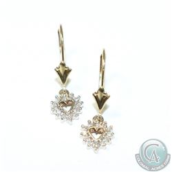 Lady's 10K Yellow Gold Diamond Heart Drop Earrings with Lever Backs. 1.35 grams.