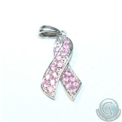 14K White Gold Gemstone Pink Ribbon Pendant.  1.38 grams.