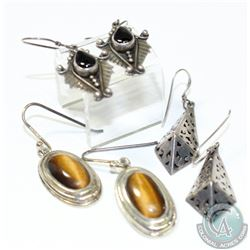 Collection of Vintage Sterling Silver Sheppard Hook Earrings. 3 Pairs.