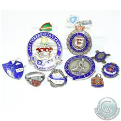 Collection of Antique/Vintage Sterling Silver Enameled Achievement Awards. You will receive a variet