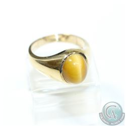Men's 10K Yellow Gold Tiger Eye Ring - Size 9 1/4.  9.74 grams.