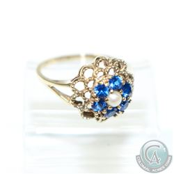 Lady's 10K Yellow Gold Blue Spinel & Pearl Floral Set Ring- Size 5 3/4.  2.64 grams.