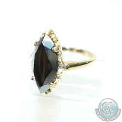 Lady's 10K Yellow Gold Black Spinel Ring - Size 6.  4.21 grams.